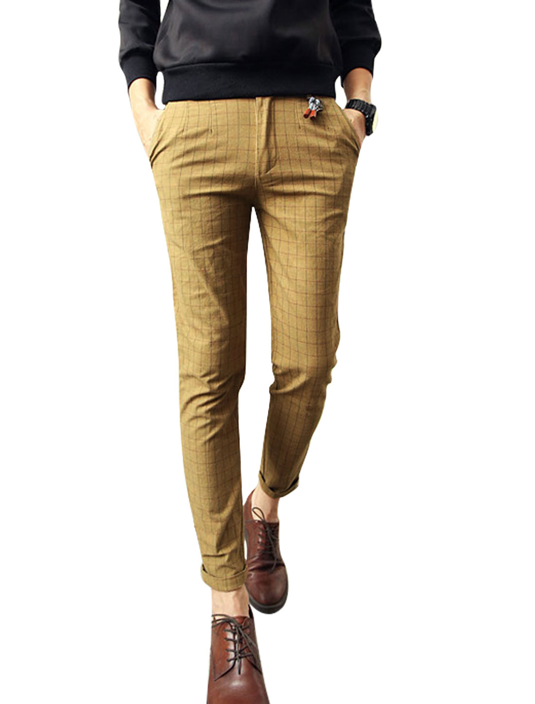Men Dark Khaki Plaids Mid Rise Belt Loop Button Closure Zip Fly Pants W30