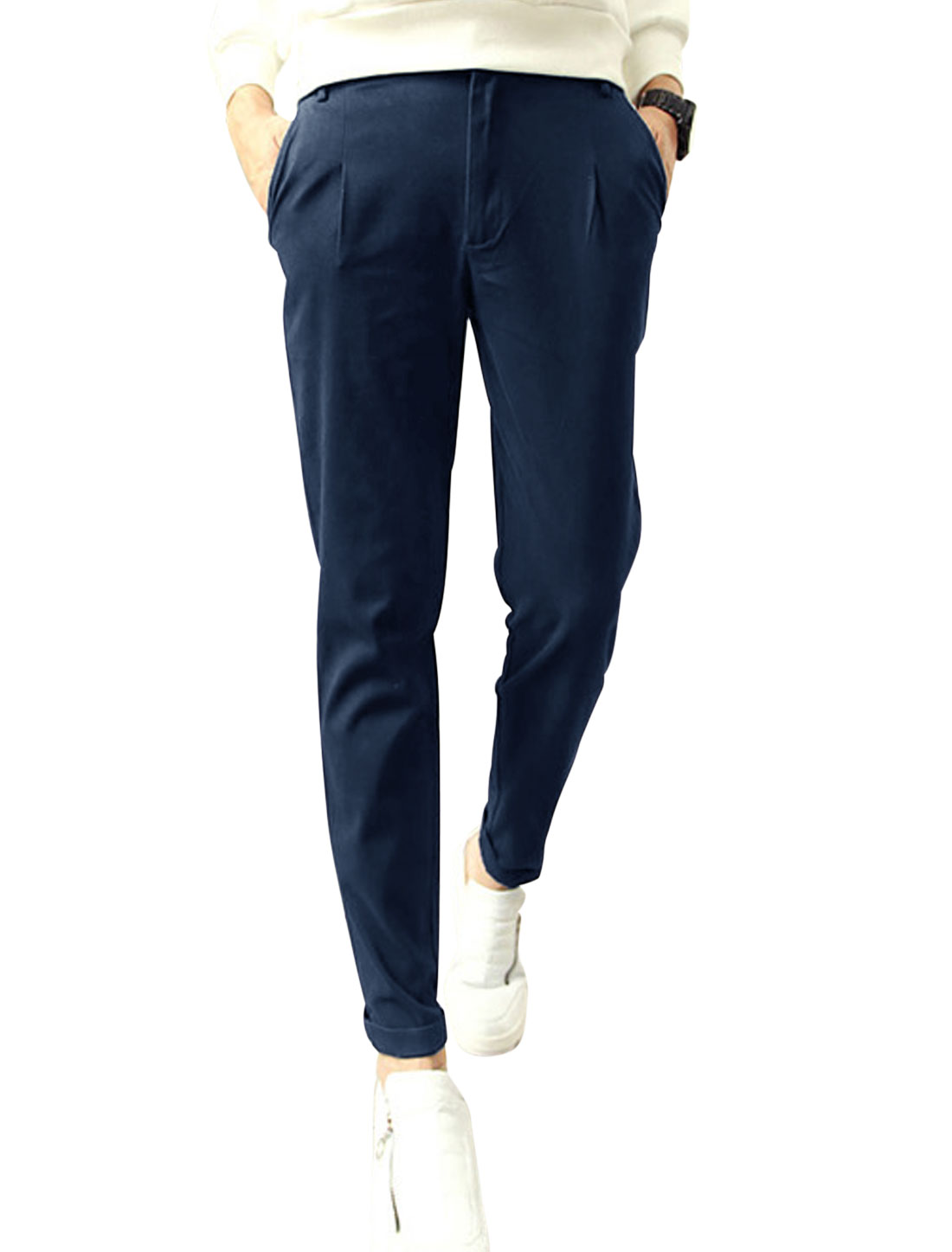 Man Button Closure Two Slant Pocket Navy Blue Casual Pants W30