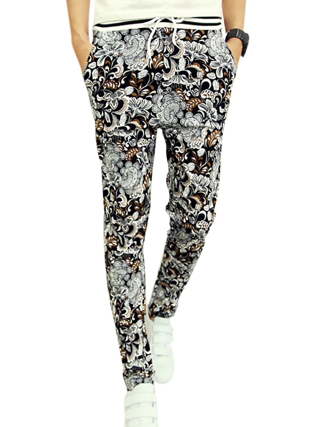 Men Stretchy Wasit Floral Prints Paisleys Newly Pants Black Multicolor W28