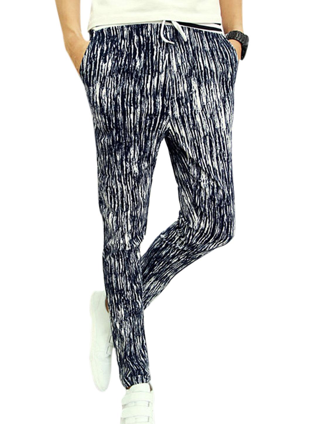 Men Elastic Wasit Stripes Tie-Dye Design Skinny Newly Pants Navy Blue White W28