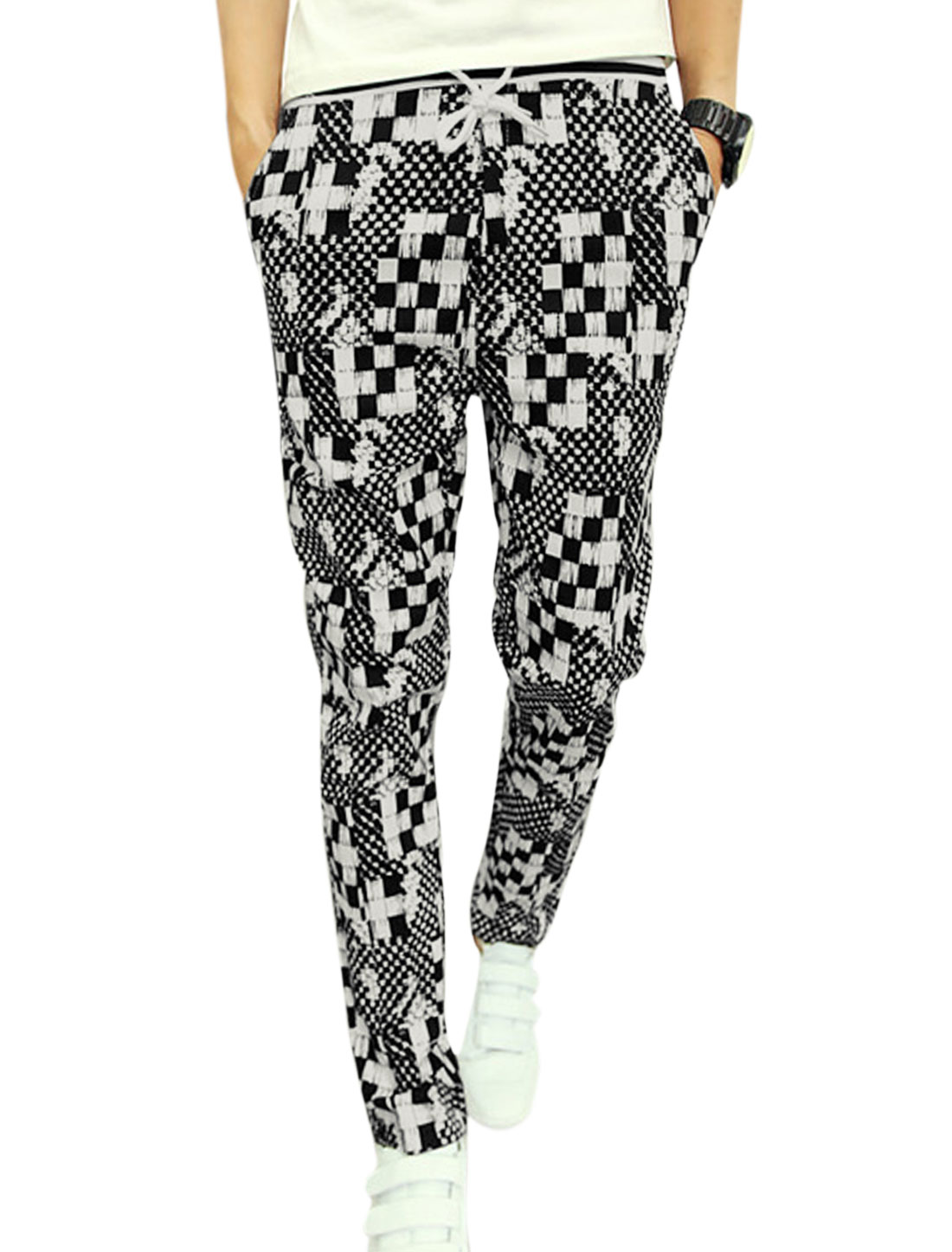 Men Elastic Wasit Skinny Check Pattern Plaids Chic Pants Black White W28