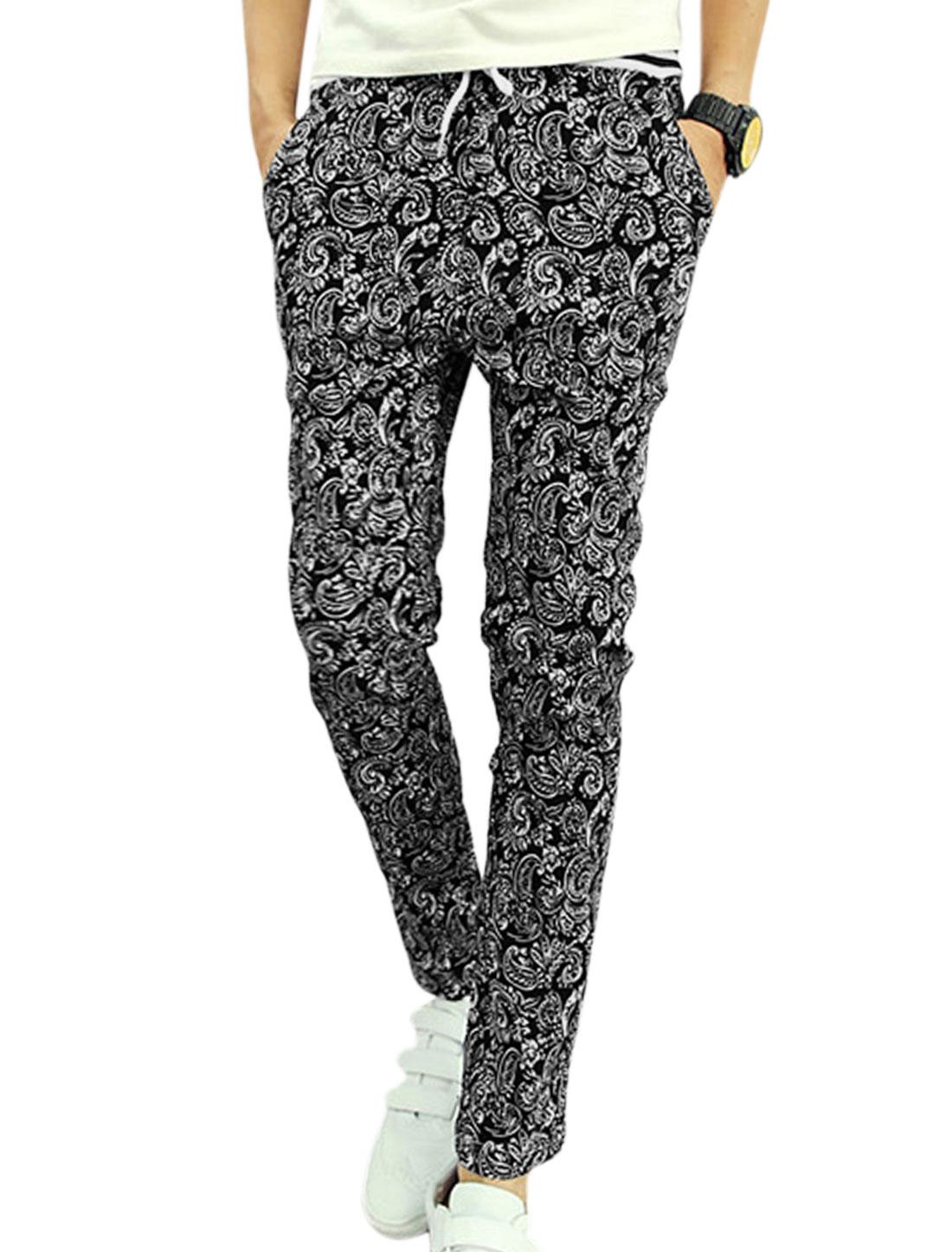 Men Elastic Waist Floral Prints Detail Paisleys Skinny Trousers Black W28