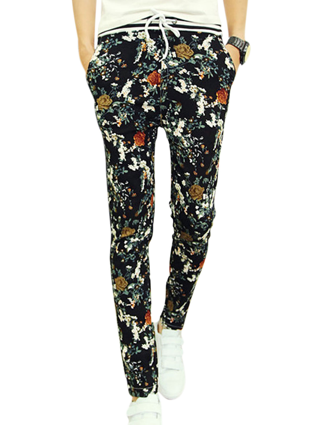 Men Contrast Waistband Mid Rise Floral Prints Newly Pants Black Multicolor W28
