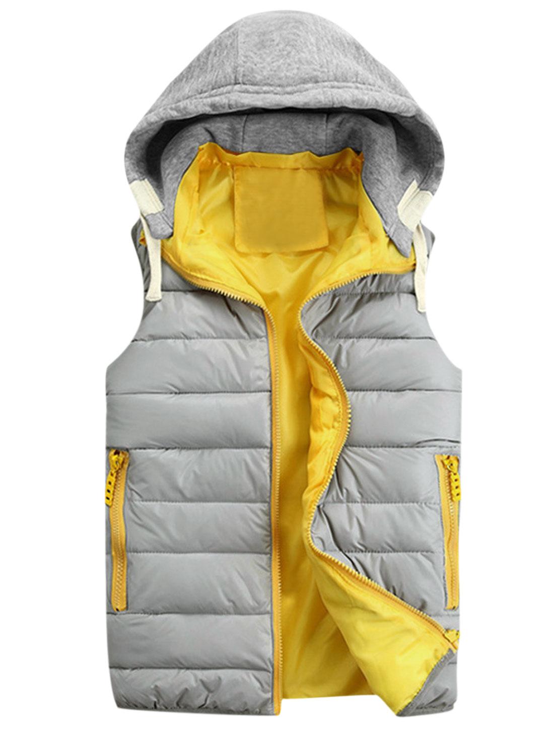 Men Layered Design Sleeveless Leisure Hooded Padded Vest Light Gray M