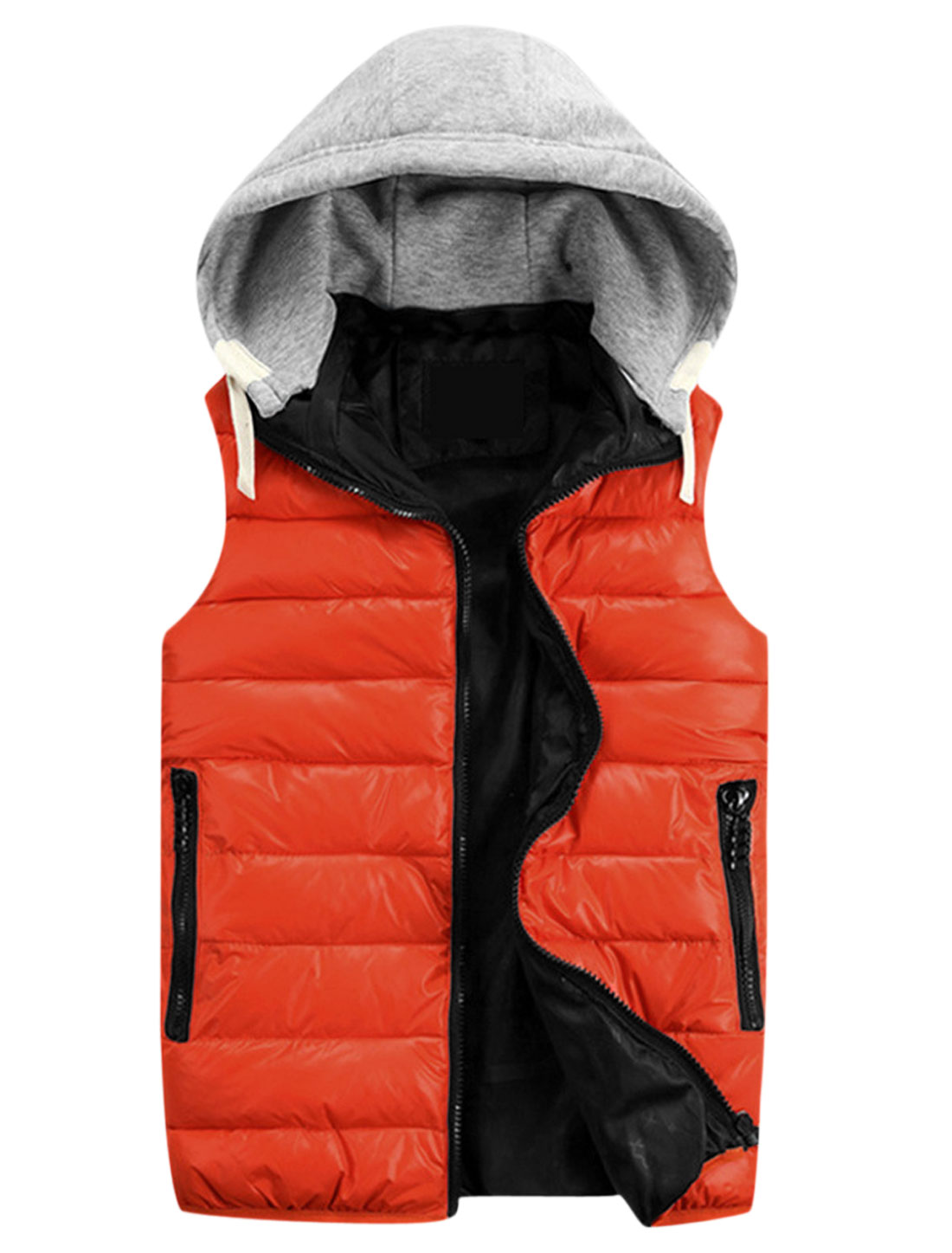 Men Contrast Color Sleeveless Chic Hooded Padded Vest Orange Red Light Graly M