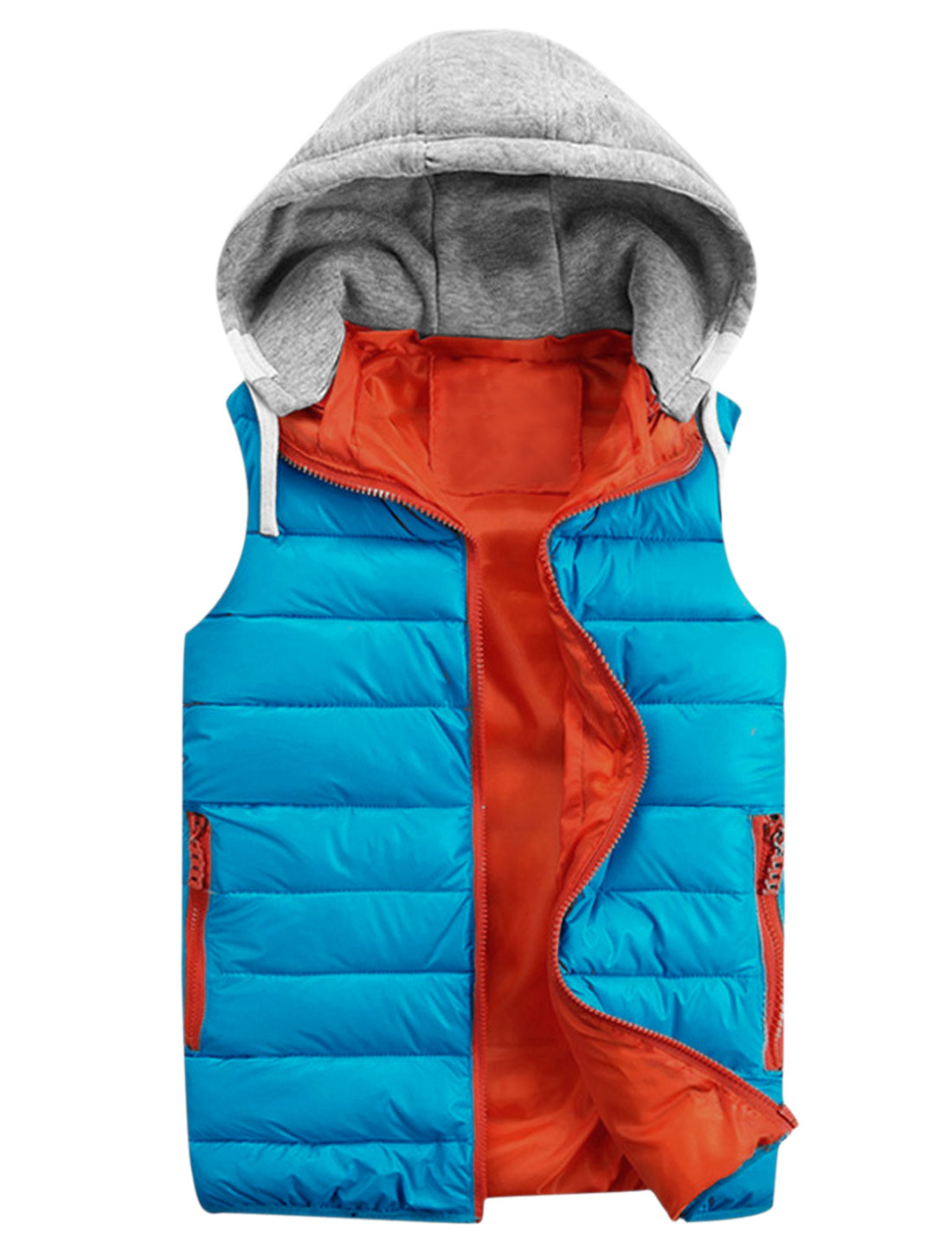 Men Color Blocked Sleeveless Fashion Hooded Padded Vest Blue Light Gray M