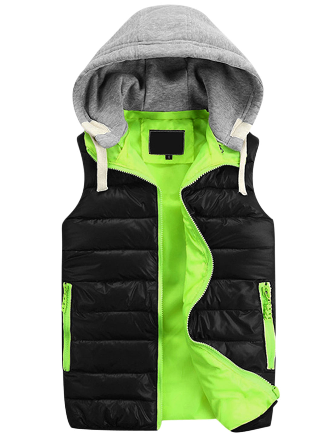 Men Color Blocking Sleeveless Stylish Hooded Padded Vest Black Light Gray M