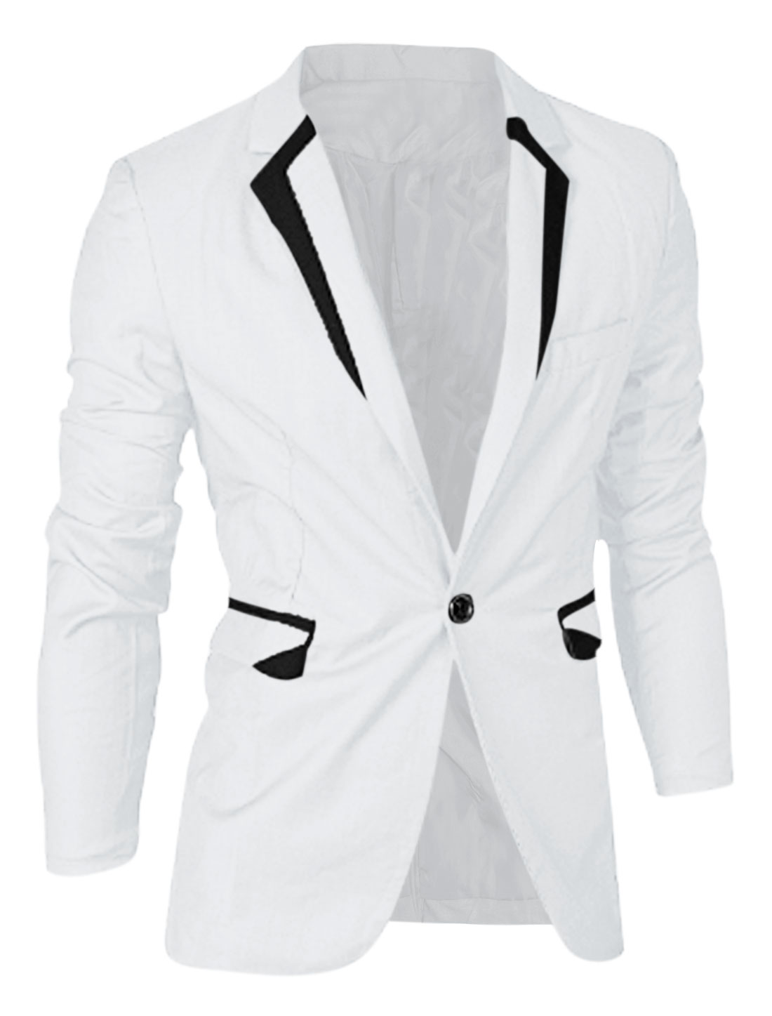 Men Notched Lapel Contrast Color Trendy Blazer Jacket White M