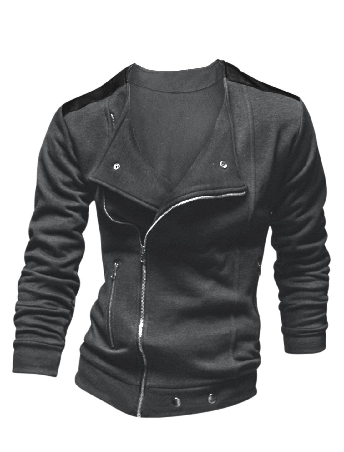 Men Imtation Leather Panel Zip Closure Trendy Jacket Dark Gray M