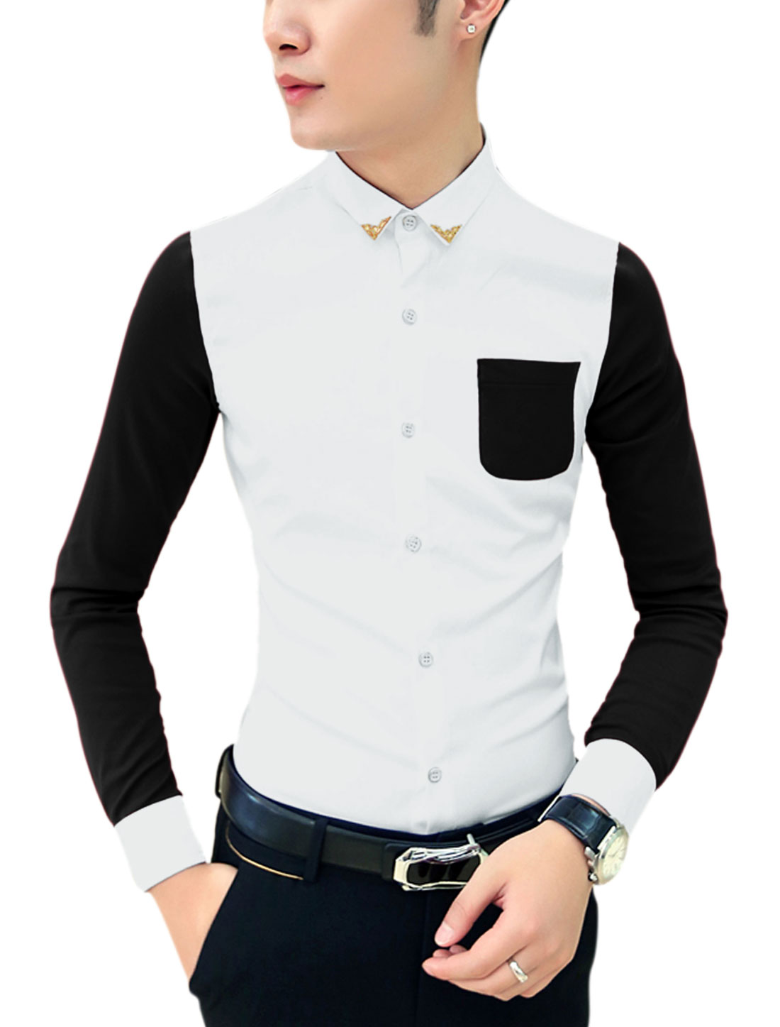Men Point Collar Panel Design Color Blocked Leisure Shirt Black White M