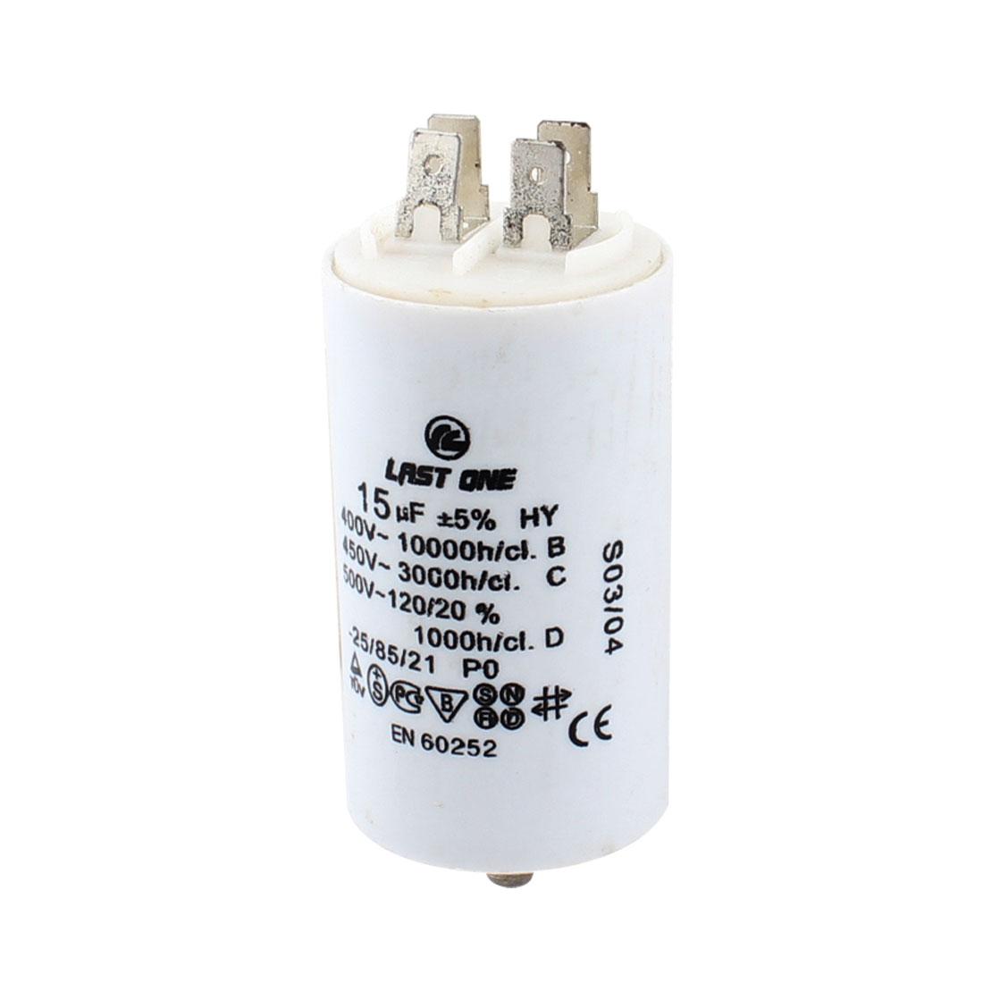AC 400V 450V 500V 15uF Cylinder Shaped Polypropylene Film Motor Capacitor