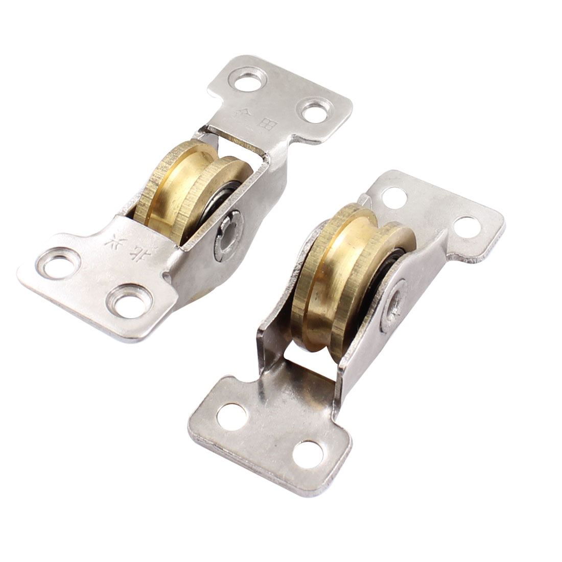 2pcs Brass Single Roller 2 Bearings Window Slding Pulley Wheel