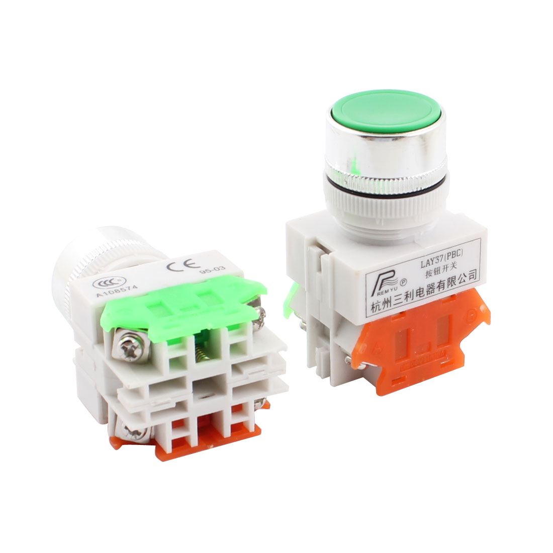 2Pcs LAY37 Green 24mm Panel Cut Dia 4 Terminals SPDT Momentary Push Button Switch Ui 600V Ith 10A