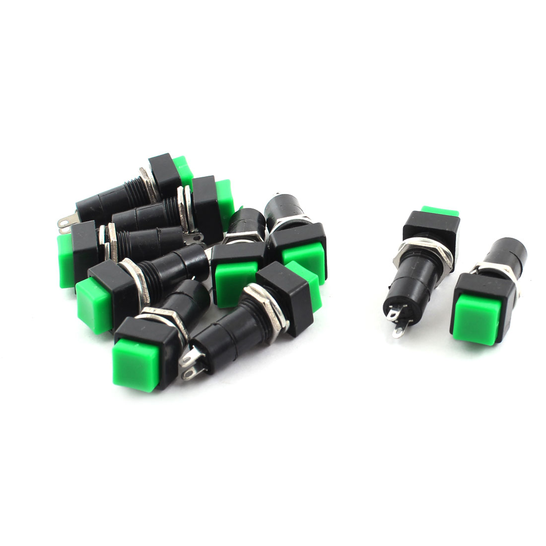 10Pcs AC250V 3A Green Rectangle Cap Momentary Push Button SPST Horn Switch