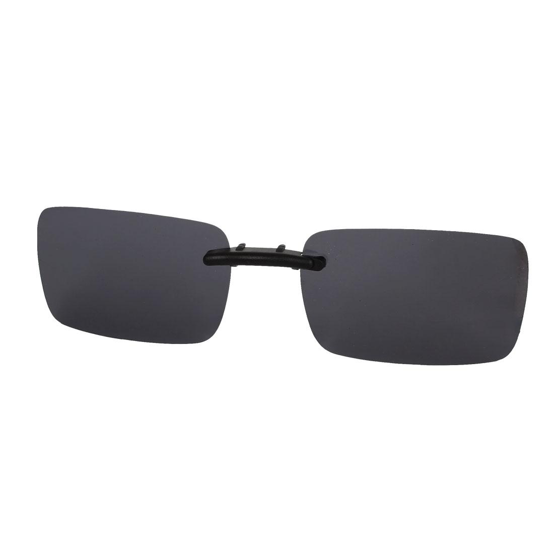 Unisex Rectangle Frameless Black Polarized Lens Clip on Sunglasses