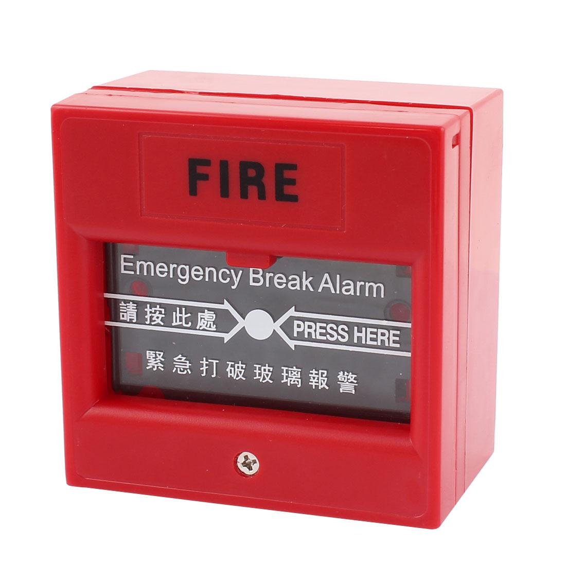 220V 10A Red Plastic Cover Emergency Plate Decor Glass Break Fire Alarm Key Switch