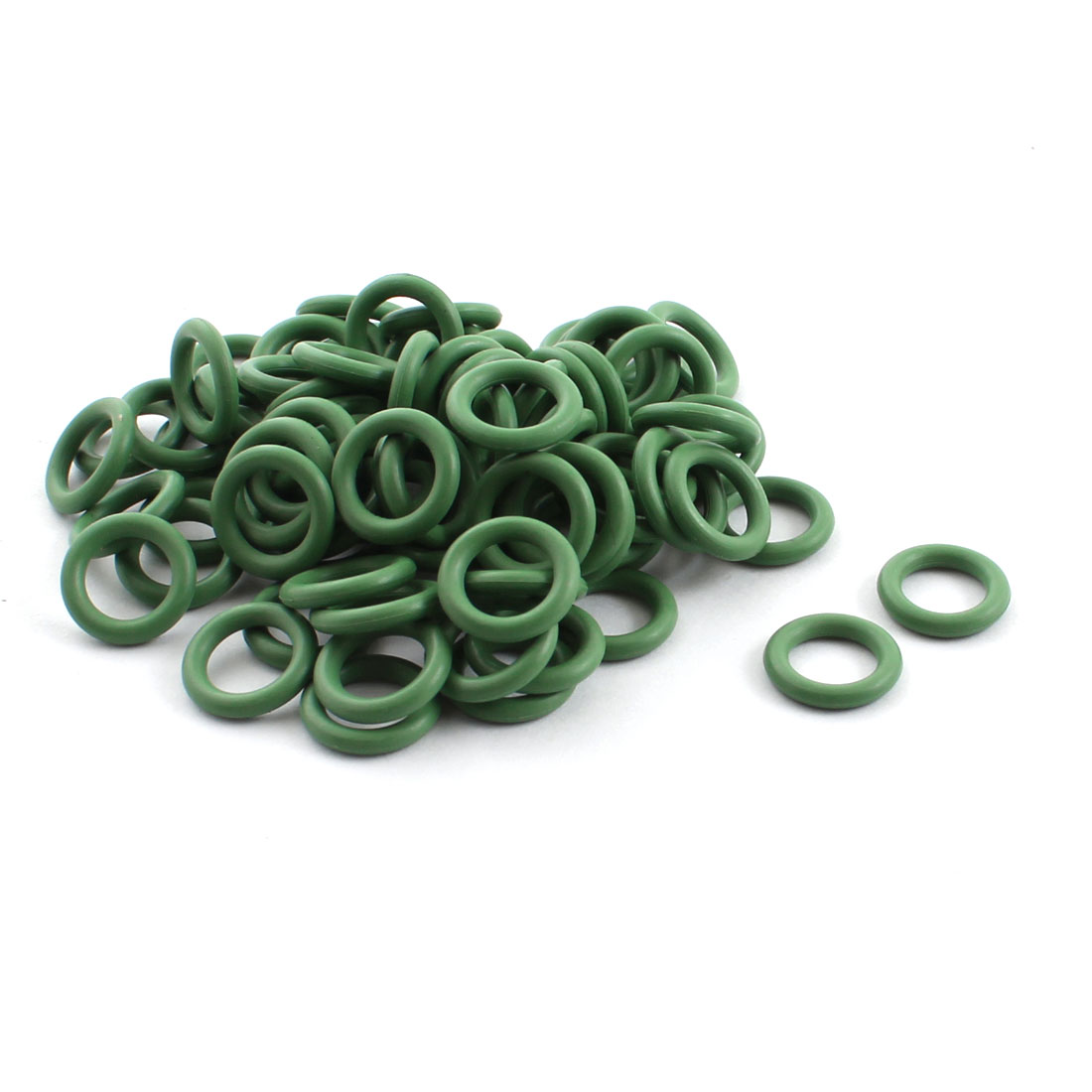 100 Pcs Green Rubber 10.6mm x 6.8mm x 1.9mm Oil Seal O Rings Gaskets Washers