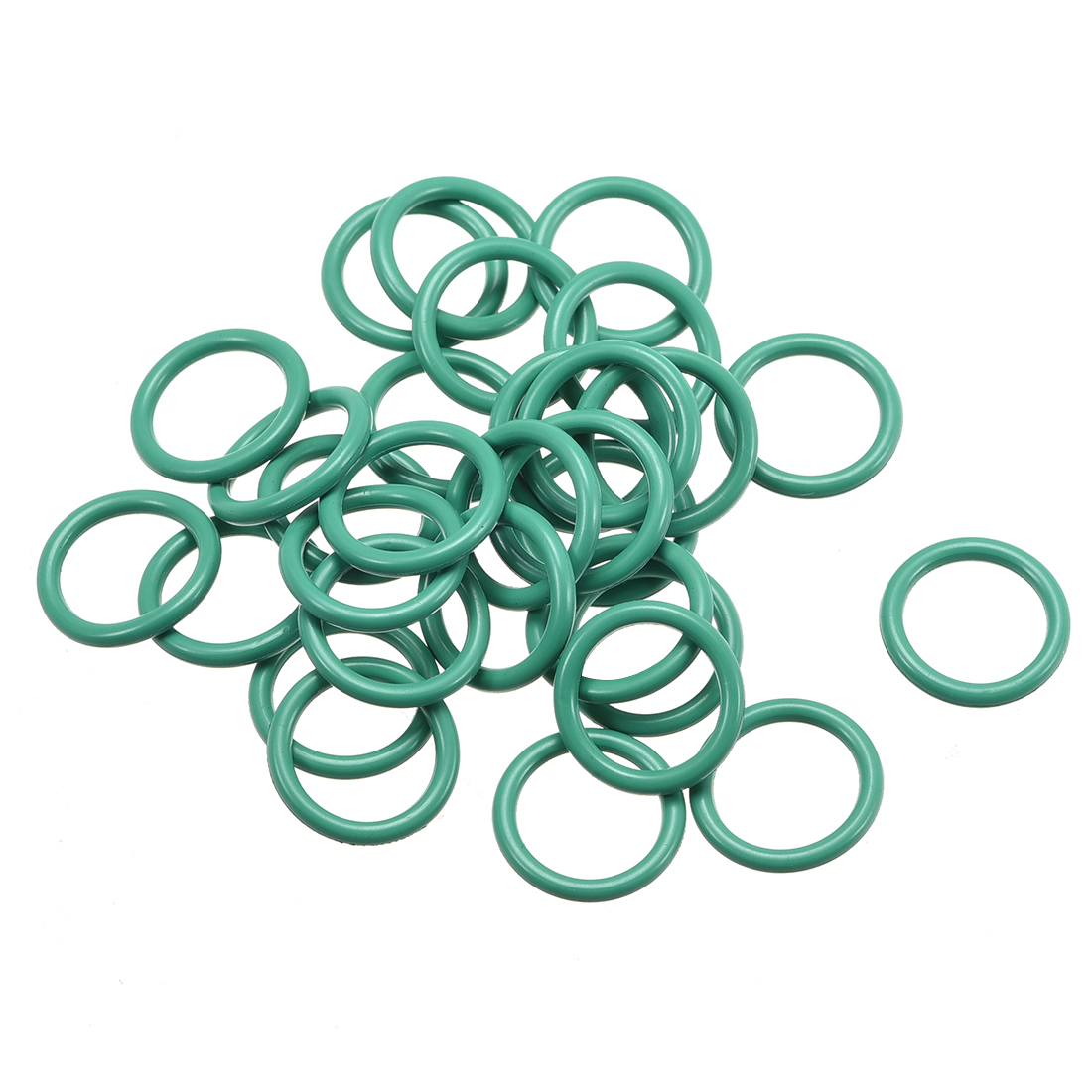 100 Pcs Green Rubber 15mm x 11mm x 2mm Oil Seal O Rings Gaskets Washers