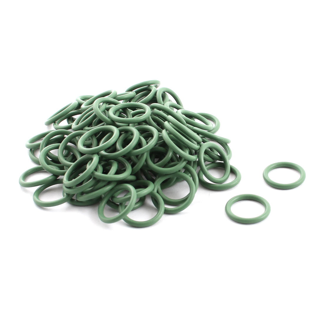 100 Pcs Green Rubber 14mm x 11mm x 1.5mm Oil Seal O Rings Gaskets Washers