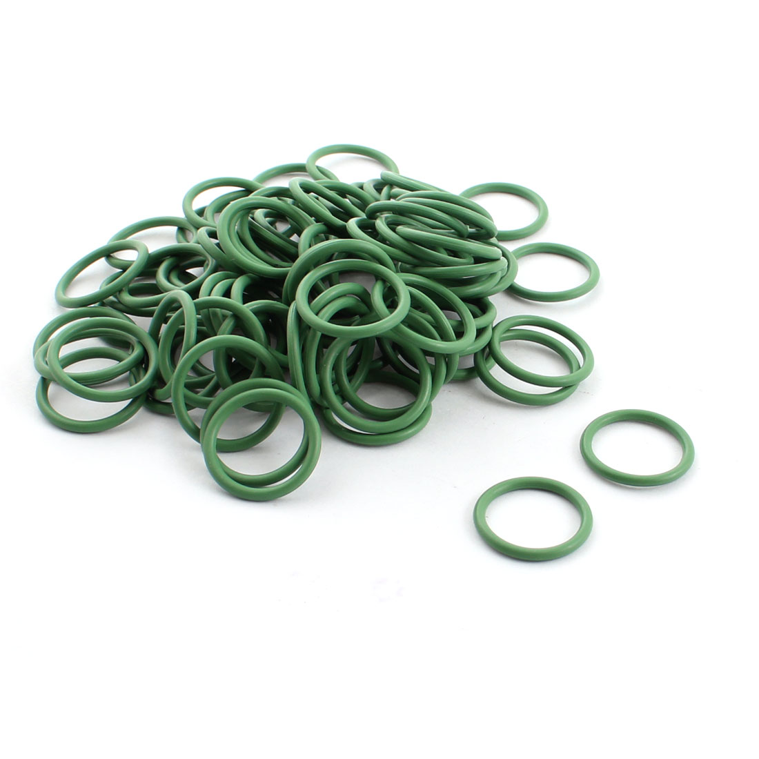 100 Pcs Green Rubber 17mm x 14mm x 1.5mm Oil Seal O Rings Gaskets Washers