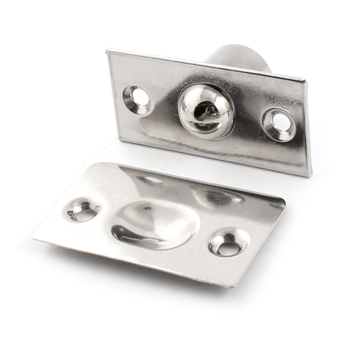 Closet Door Fitting Silver Tone Stainless Steel Ball Catch Set