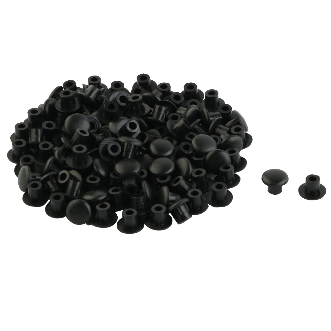 Home Furniture Decor 5mm Black Plastic Hole Drilling Cover Plugs 100pcs