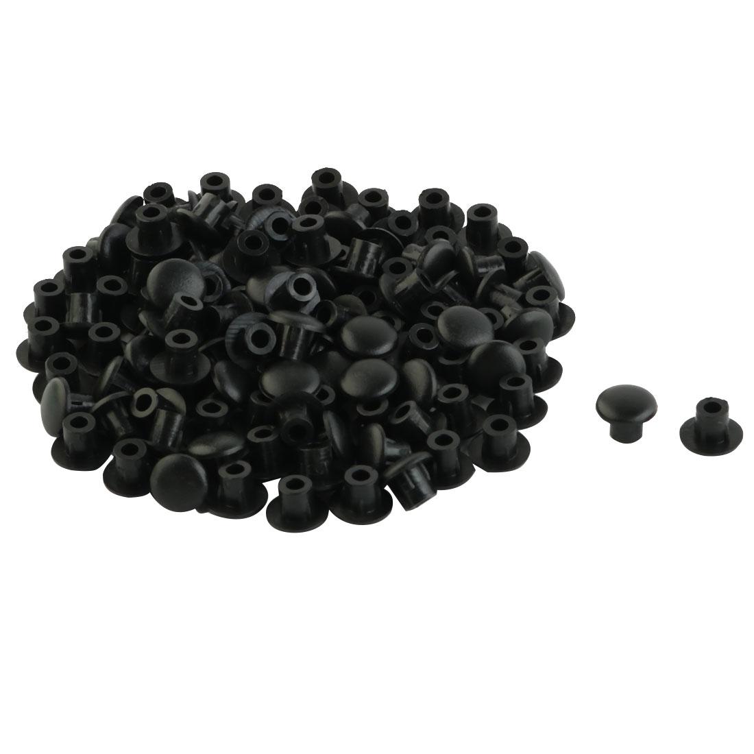 Home Furniture Decor 5mm Black Plastic Hole Drilling Cover Plugs 100pcs