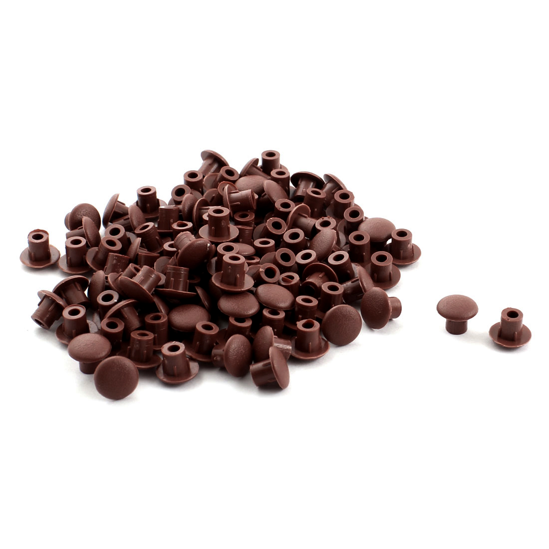 Home Furniture Decor 5mm Brown Plastic Hole Drilling Cover Plugs 100pcs