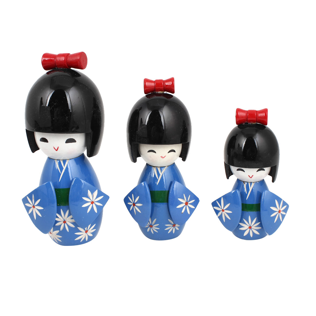 Gift Wooden Flower Print Smiling Kimono Japanese Girl Kokeshi Doll Blue 3 Pcs