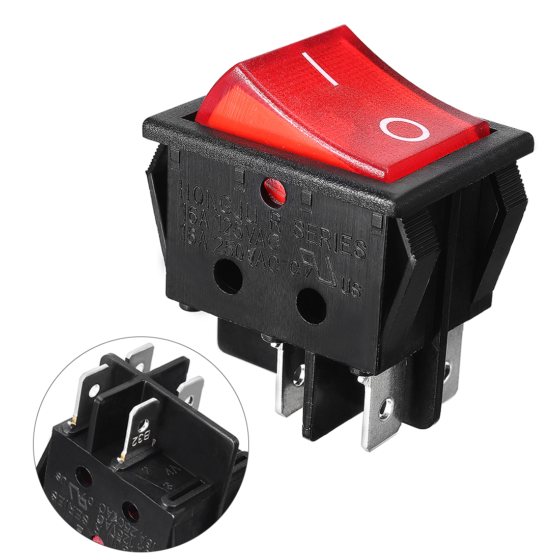 AC 16A/250V Lamp Volt Red Button DPST 4p Soldering Boat Rocker Switch