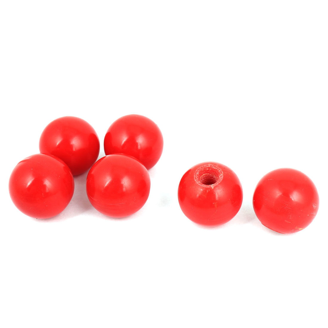 6 Pcs M6 Female Threaded 25mm Diameter Plastic Ball Knob Handle Red