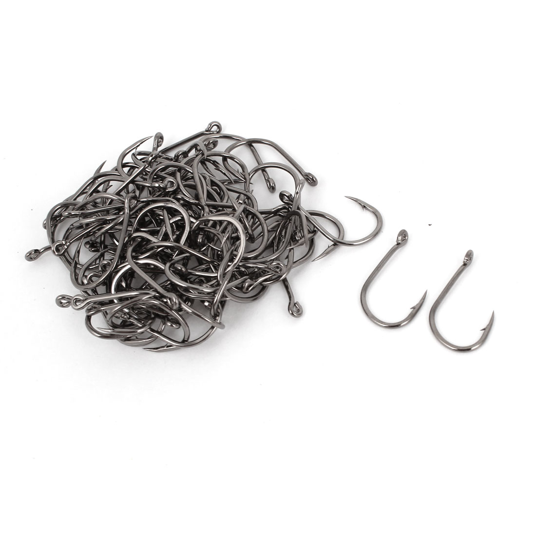 100 Pieces Dark Gray Metal Barbed Eyelet End Fishhook Fishing Hooks 9#