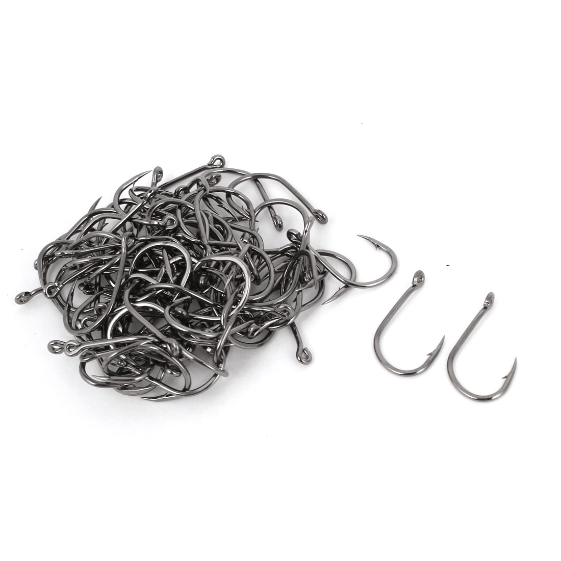 70 Pieces Dark Gray Metal Barb Eye Hole End Fishhook Fishing Hooks 12#