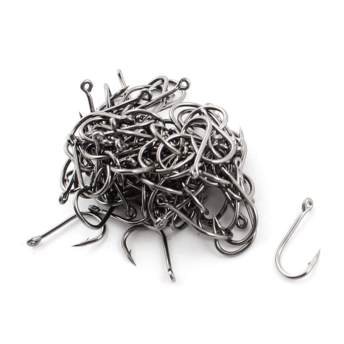 100 Pcs Silver Tone Metal Eye Hole Barbed Fishing Hook Fishhook 5#