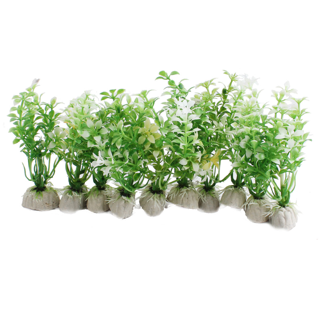 "Aquarium Fish Tank Decor Simulation Underwater Plant Green White 4.7"" Height 10 Pcs"