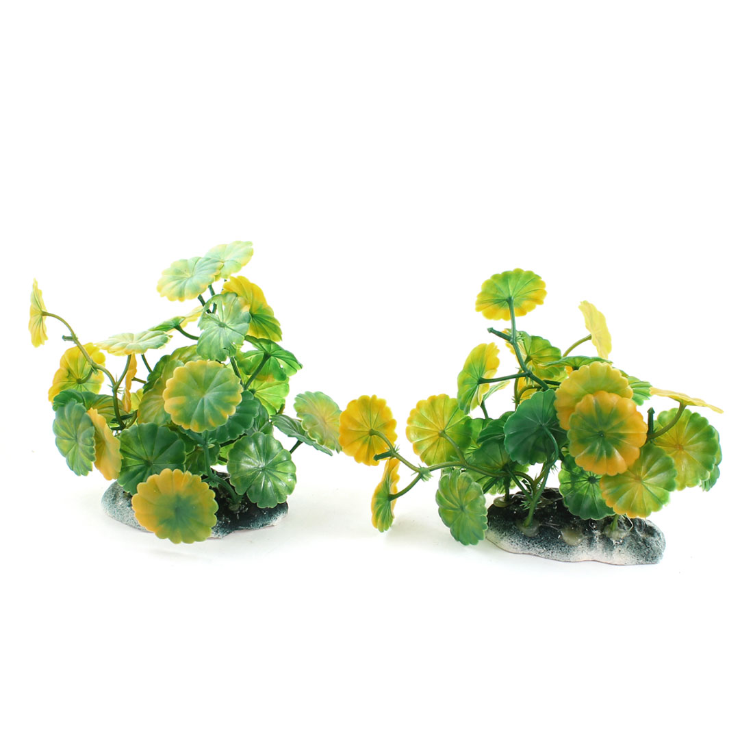 "Aquarium Fish Tank Decor Simulation Underwater Plant Green Yellow 3"" High 2 Pcs"