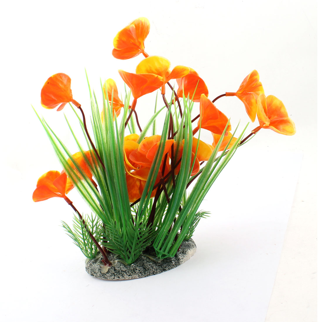 "Aquarium Fish Tank Decor Simulation Underwater Plant Green Orange 8"" Height"