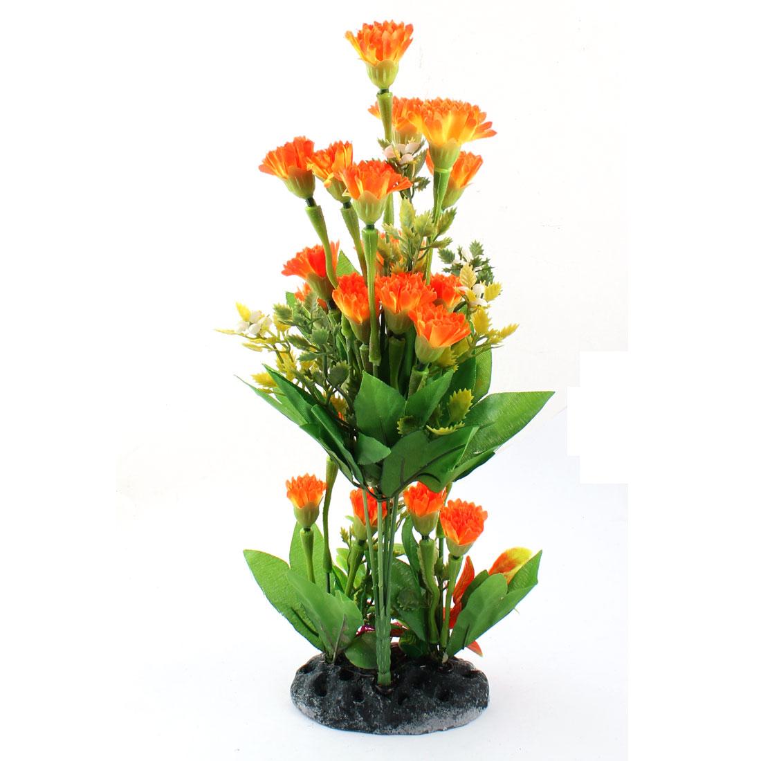 """Aquarium Fish Tank Decoration Simulational Underwater Plant Green Orange 12"""" High"""