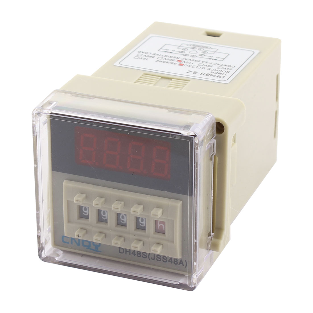 AC 110V DH48S-2Z Panel Mount DPDT 8Pin 0.01s-9999H Adjustable Time Delay Control Programmable Timer Relay w Plug in Base Socket