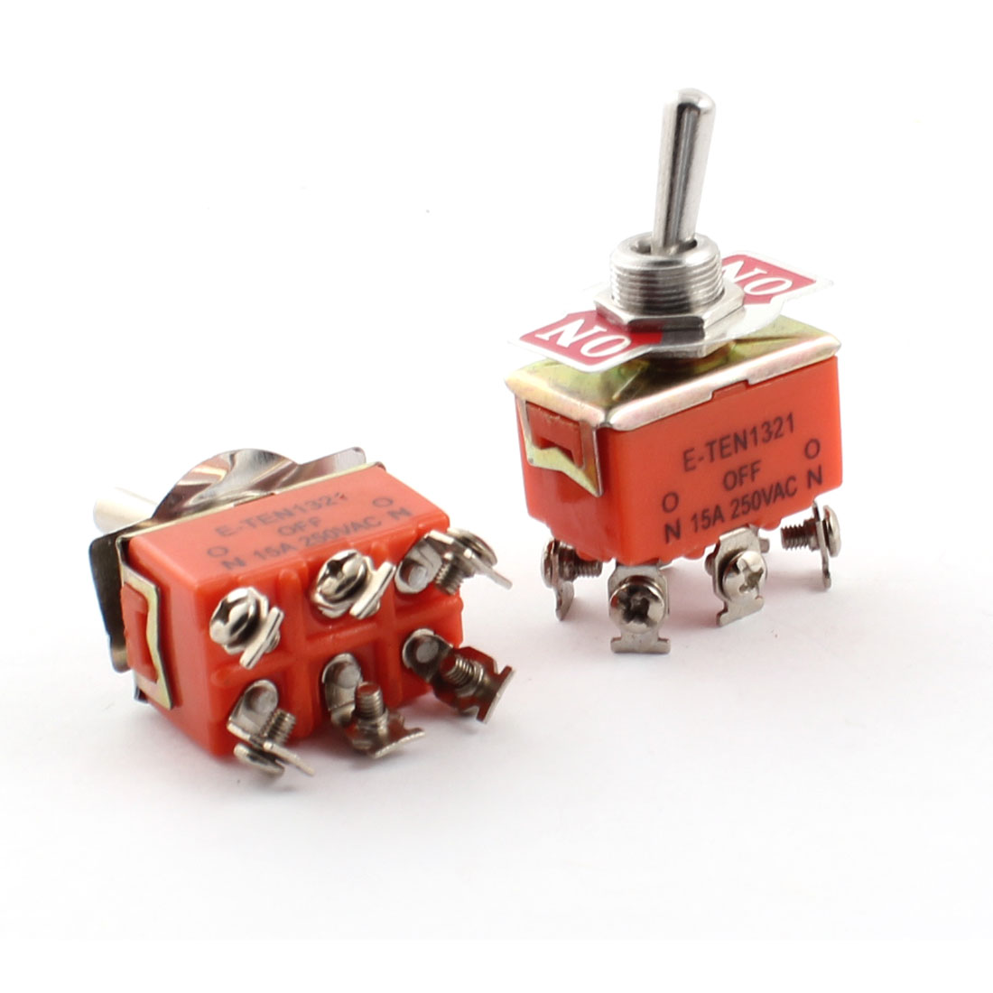 2PCS ON-ON 2-Position DPDT Self-Locking 6 Terminals Toggle Switch AC 250V 15A