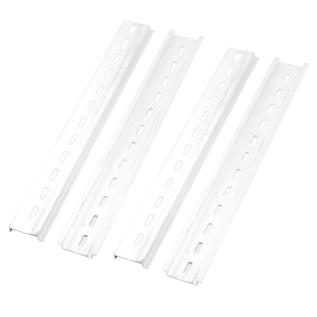 4 Pcs 35mm Width Slotted Design Aluminum DIN Rail 250mm
