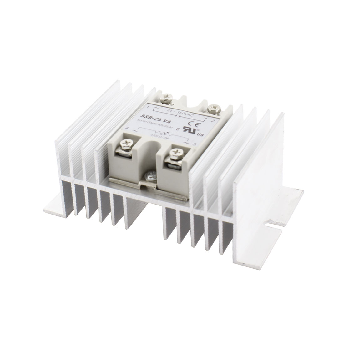 SSR-25VA AC24-380V Resistor Type Aluminum Heat Sink Single SSR Solid State Relay