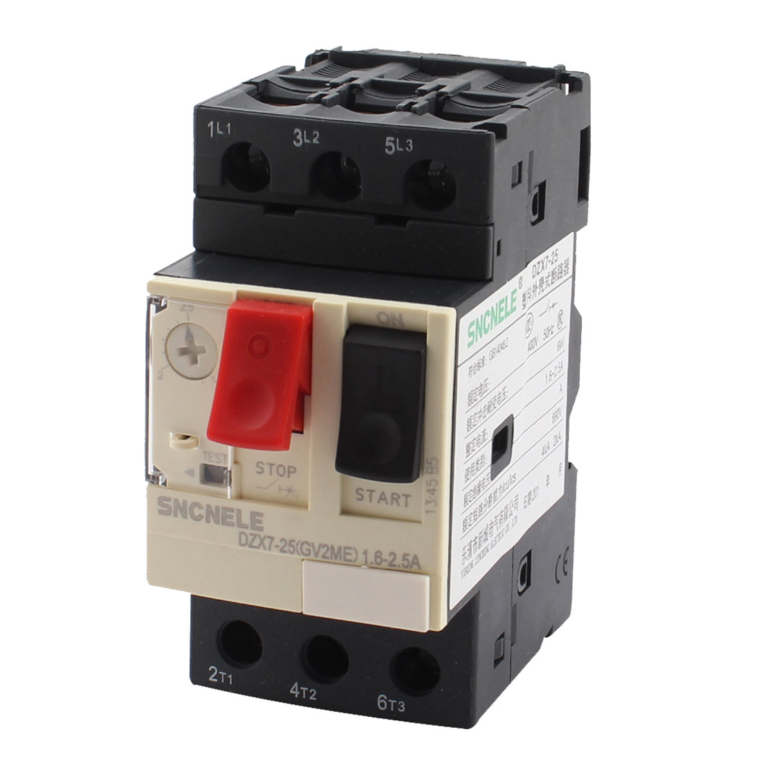 1.6-2.5A 690V 6KV ON/OFF Button Black Starting NO+NC Motor Circuit Breaker