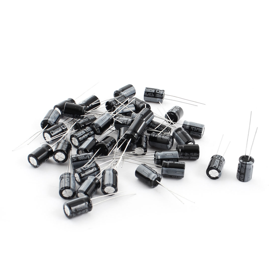 40 Pcs 6.3V 1000uF Radial Lead Through Hole Mount Cylinder Shaped Aluminum Electrolytic Capacitor 6mm x 8mm