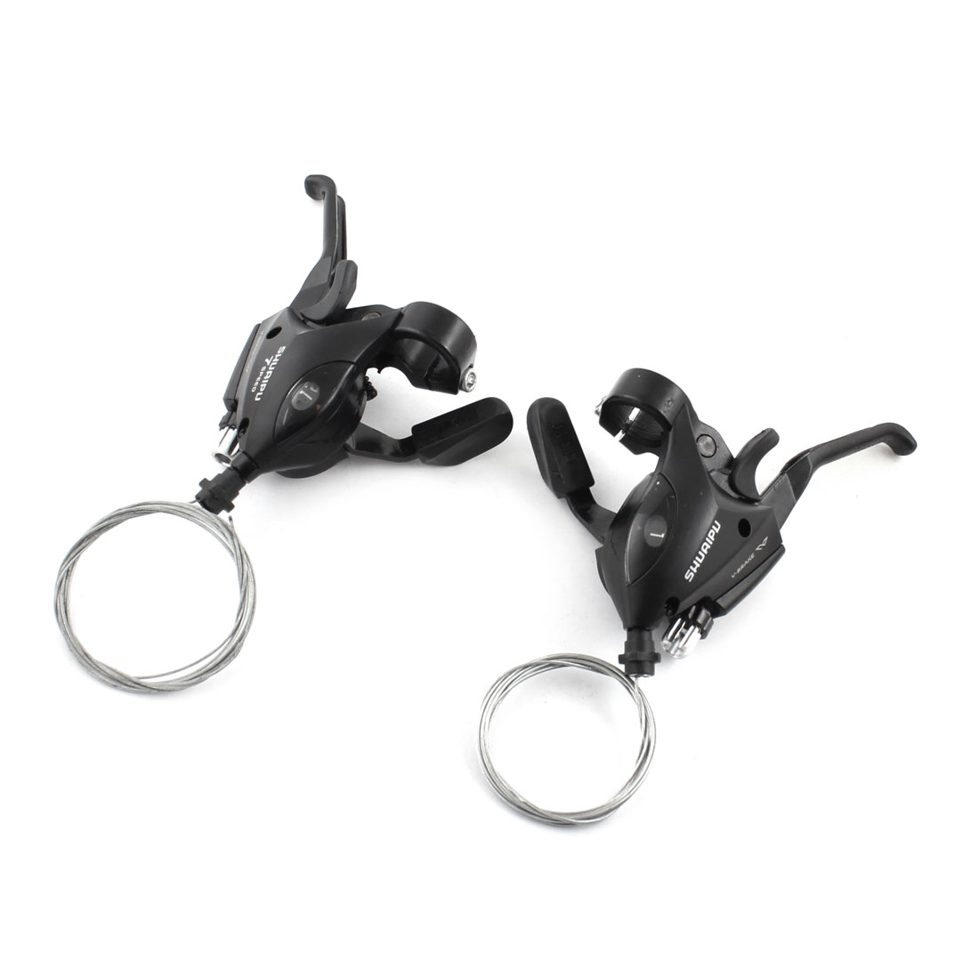Pair Black Mountain Bike Bicycle Wired Front Rear Brake Levers
