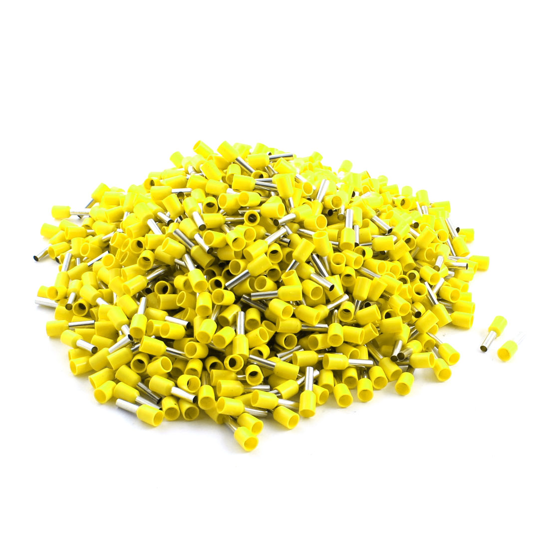 1000Pcs E2508 14AWG Yellow Tube Tublar Style Plastic Insulated Cable Wire Ends Terminals