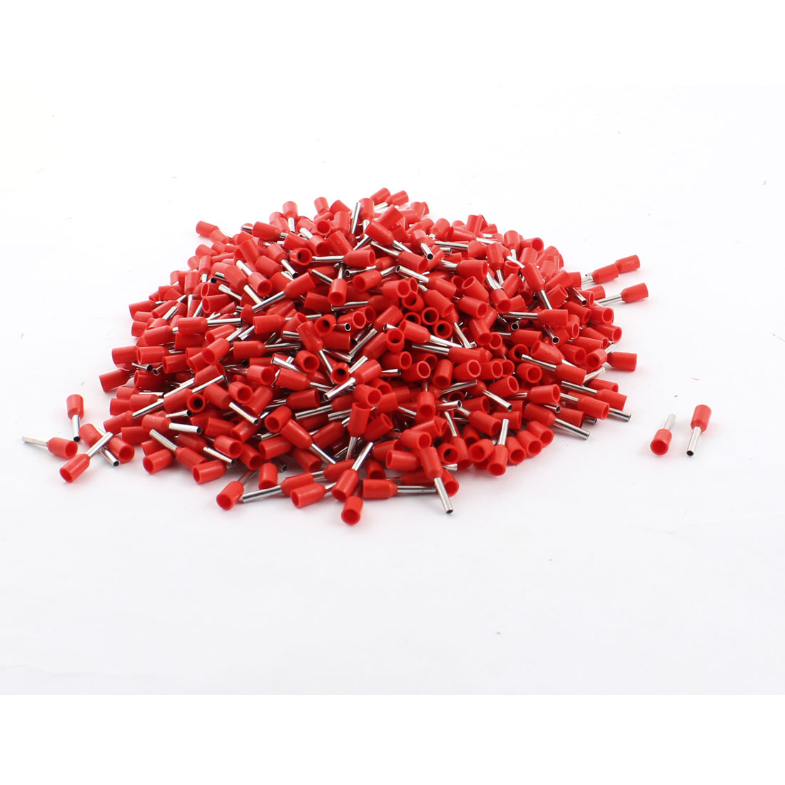 1000Pcs E1008 18AWG Red Tube Tublar Style Plastic Insulated Cable Wire Ends Terminals
