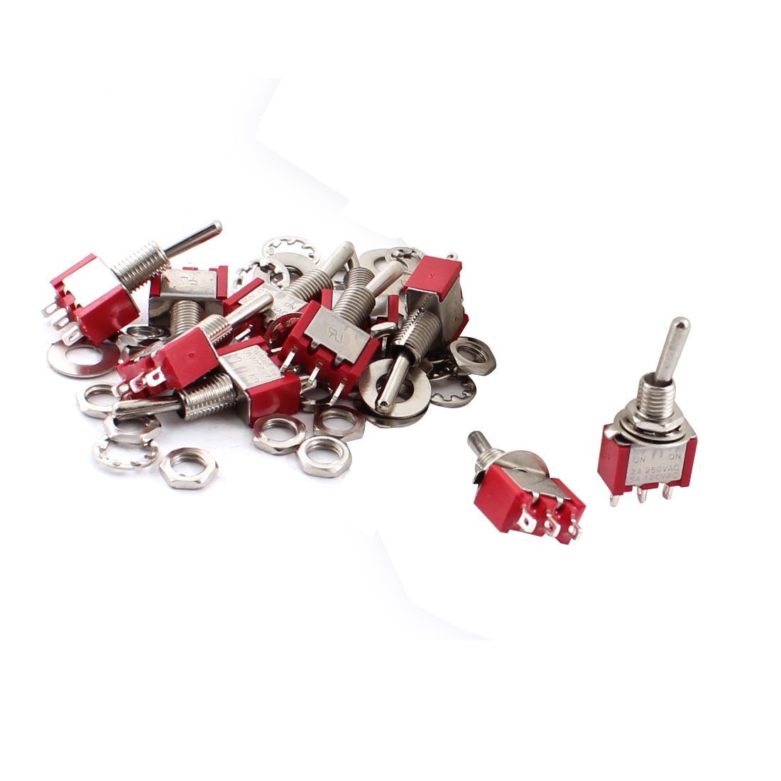 10 Pcs AC 250V/2A 120V/5A SPDT Red Metal 2 Position ON/ON 6mm Thread 3 Terminals Toggle Switch Red