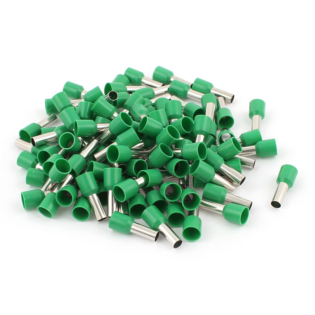 100 Pcs 10mm2 Crimp Cord Wire End Terminal Insulated Bootlace Ferrule Connector Green