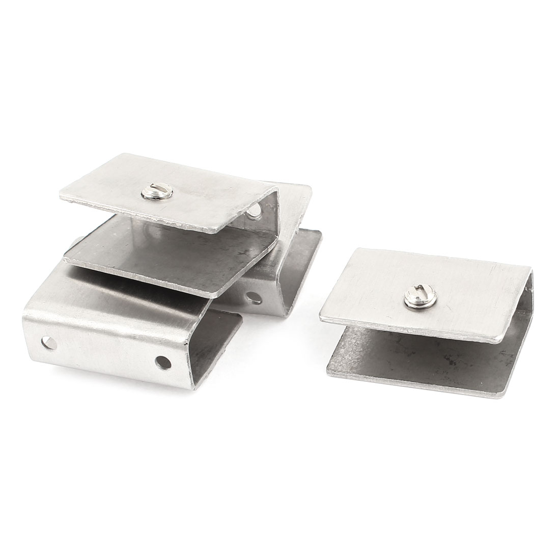 10mm-14mm Thickness Rectangular Shelf Glass Clip Clamp Silver Tone 4 Pcs